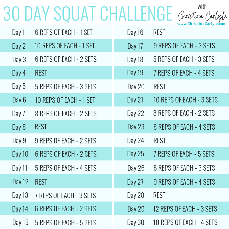 30 Day Squat Challenge Christina Carlyle
