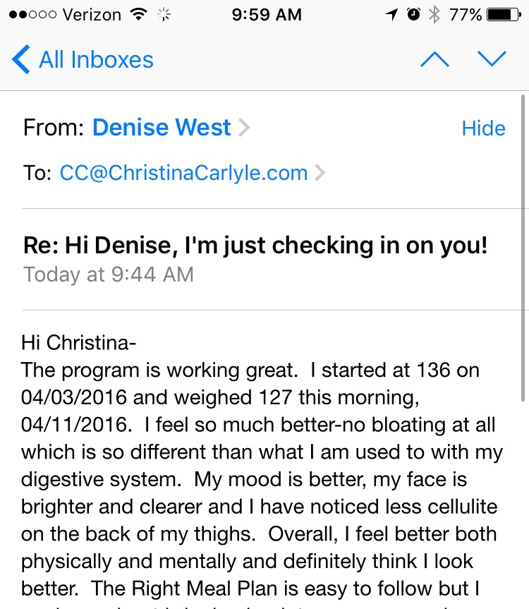 Reset Cleanse success story - Christina Carlyle