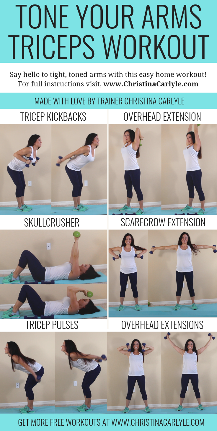 Tricep workout for women to burn arm fat and get toned arms at home with weights. This quick and easy arm workout is perfect for busy women, moms, and beginners. https://christinacarlyle.com/triceps-workout-women/