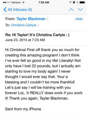 Total Transformation Testimonial - Christina Carlyle - Tayler