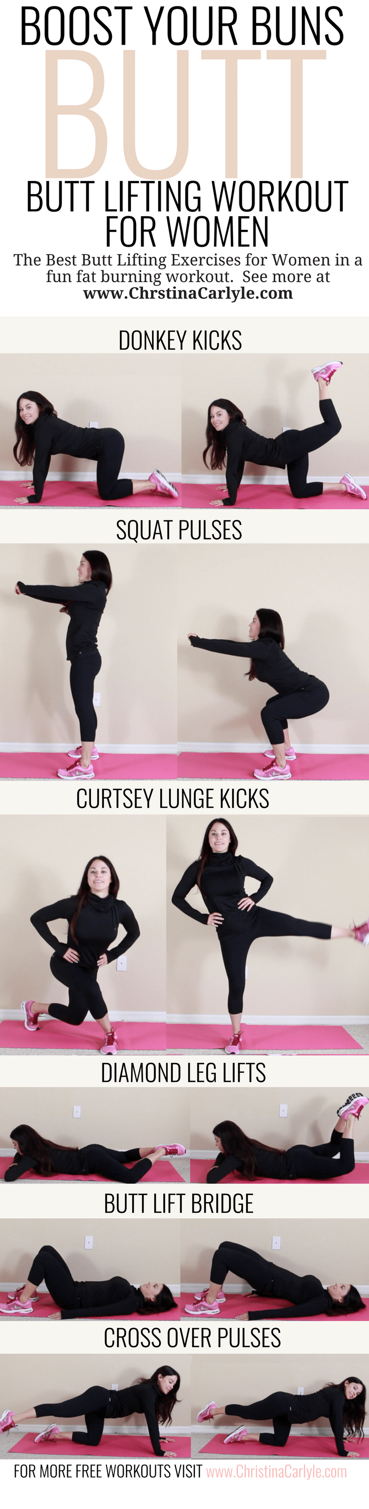 Best Butt Lifting Exercises in a Fun Fat Burning Workout for Women | Butt Exercises that will lift and tighten your booty fast. This butt workout is perfect for beginners, moms, and busy women that want a perky butt.