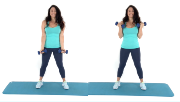 Bicep Curls arm exercise being done by trainer Christina Carlyle