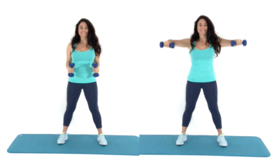 Chicken Wing Exercise for Arm Fat being done by trainer Christina Carlyle