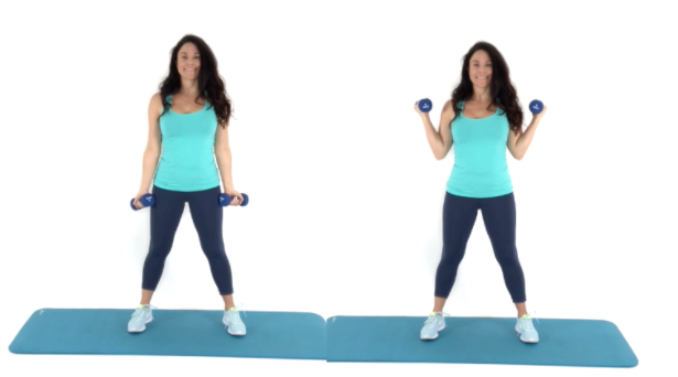 Side Curl Exercise for Arm Fat being done by trainer Christina Carlyle