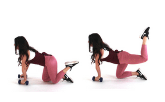 donkey kick extension hiit exercise done by Christina Carlyle