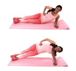 Side Plank Pulse Belly Fat Exercise being done by Christina Carlyle