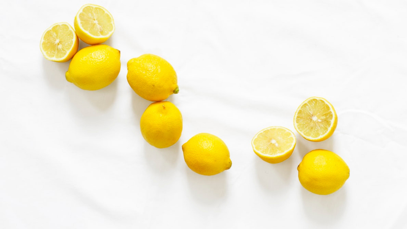 Lemons on a white tablecloth
