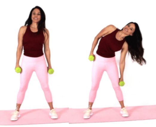 Dumbbell Side Dip exercise done by Christina Carlyle
