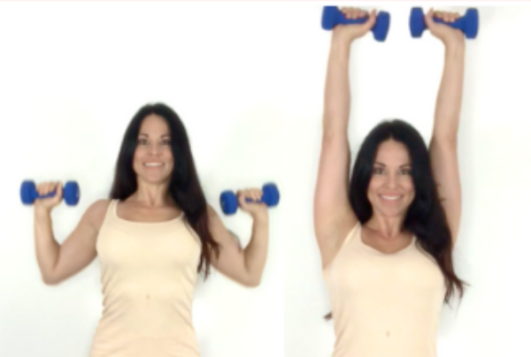 Overhead Press Bicep Exercise done by Christina Carlyle