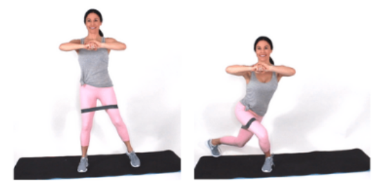Curtsey Lunge Resistance Band Exercise done by Christina Carlyle