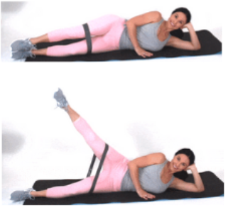 Lying Leg Lift Resistance Band Exercise done by Christina Carlyle