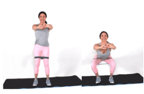Resistance Band Squat Exercise done by Christina Carlyle