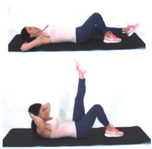 Leg Lift Crunch Exercise done by Christina Carlyle