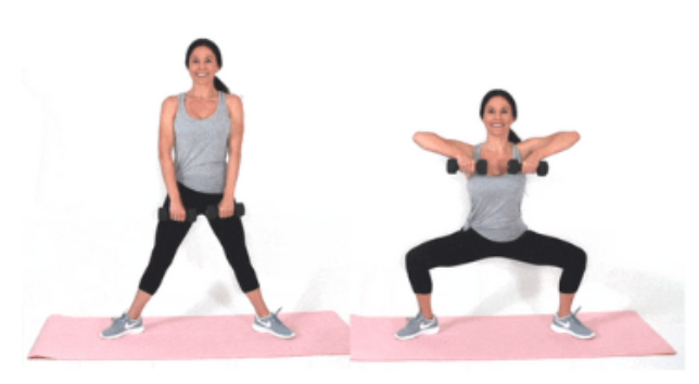Plie Squat Upright Row HIIT exercise done by Christina Carlyle