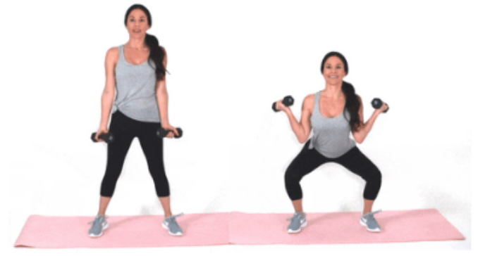 Squat Curl HIIT exercise done by Christina Carlyle