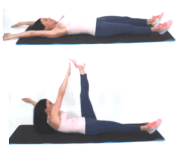 Toe Tap Crunches Exercise done by Christina Carlyle