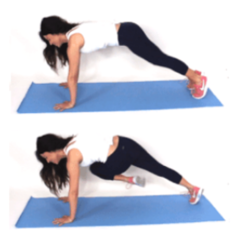Cross Over Plank Leg and Ab Exercise done by Christina Carlyle