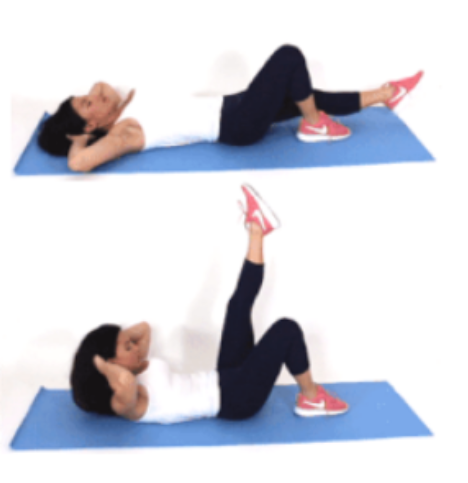 Single Leg Lift Crunch Leg and Ab Exercise done by Christina Carlyle