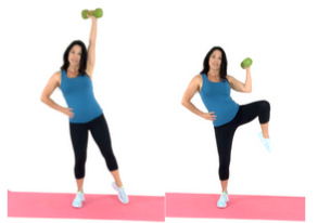 Knee Tuck Extensions standing ab exercise done by Christina Carlyle done by Christina Carlyle