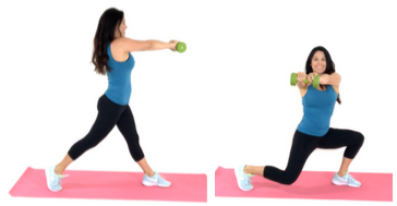 Lunge Twist standing ab exercise done by Christina Carlyle done by Christina Carlyle
