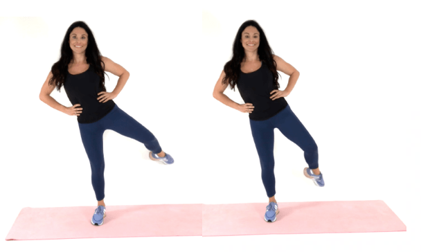 ballet leg lifts Hip Dip Exercise being done by Christina Carlyle