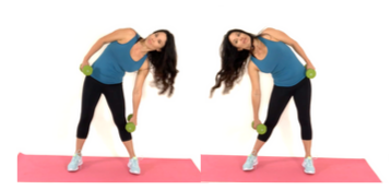 Dumbbell Side Dips standing ab exercise done by Christina Carlyle done by Christina Carlyle