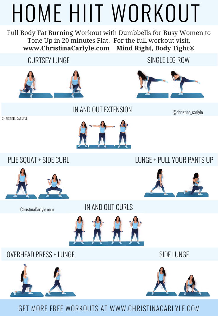 Home HIIT Workout with 8 HIIT exercises being done by trainer Christina Carlyle