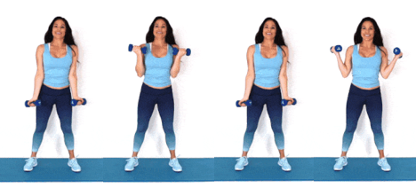 In and out Curl HIIT exercise done by Christina Carlyle