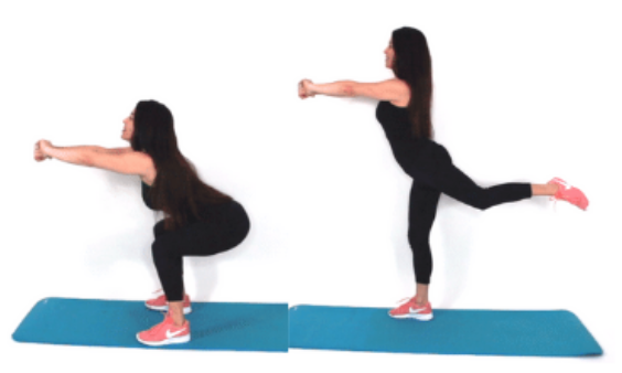 Squat with rear kick home exercise being done by Christina Carlyle