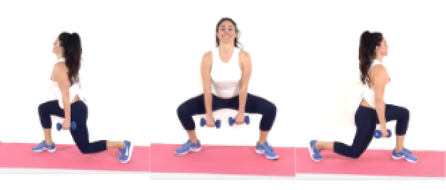 Lunge Plie Lunge HIIT Exercise being done by Trainer Christina Carlyle